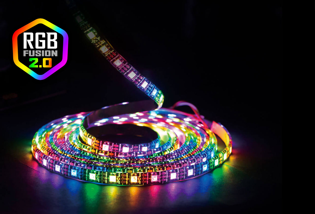 A coil of RGB LED strip, with a logo of RGB Fusion 2.0 on the left