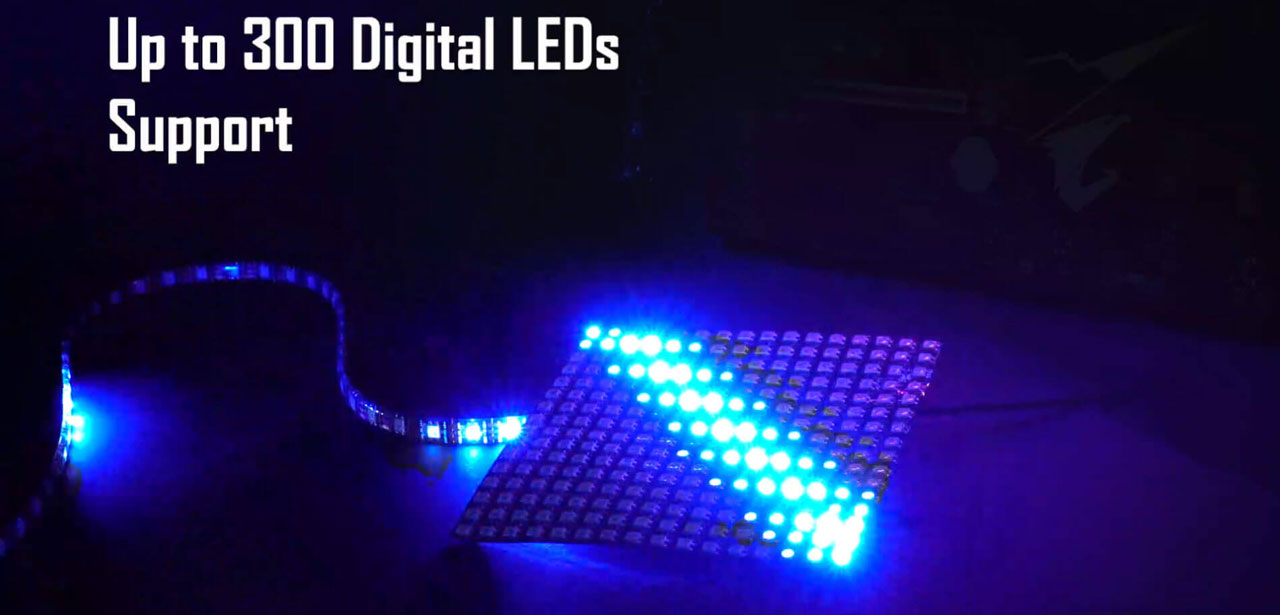 "An LED strip and an LED panel, with texts above reading as ""up to 300 digital LEDs support"""