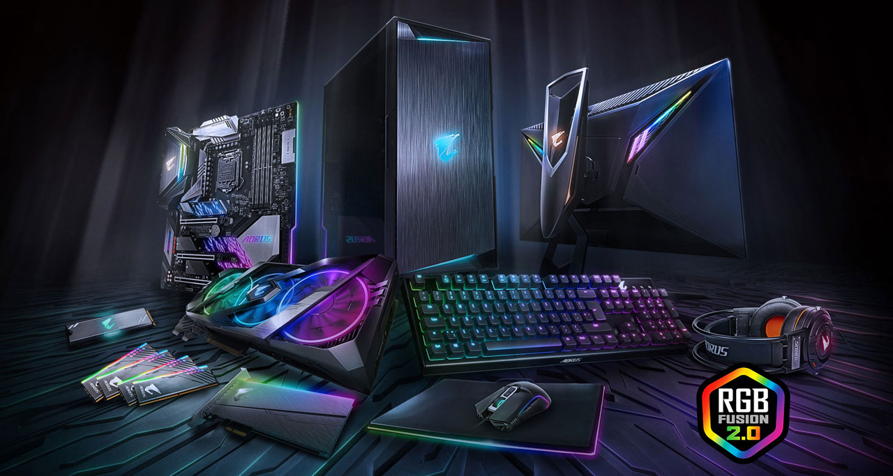 A variety of RGB gaming gears, including motherboard, case, monitor, memory, graphic card, sound card, keyboard, mouse, laptop computer, headset, and M.2 SSD