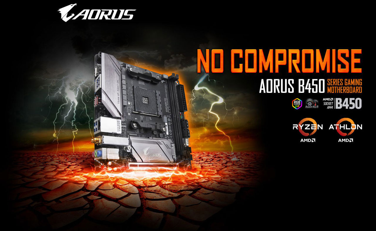 The Gigabyte B450 I AORUS PRO WIFI motherboard with bolt around striking the ground