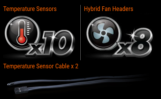 Temperature Sensors Logo and Hybrid Fan Headers Logo along with an image of the temperature-sensor cable