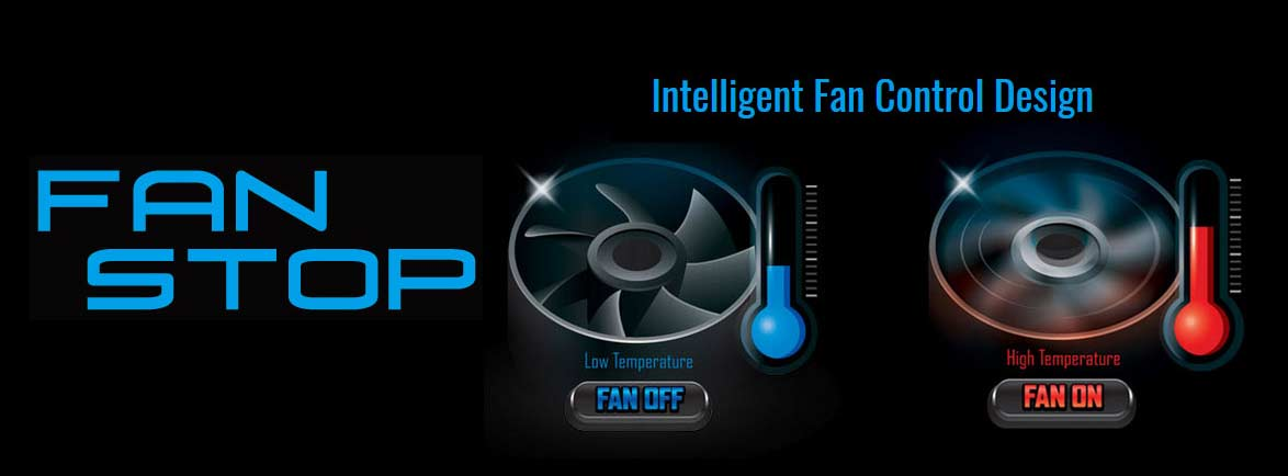 Intelligent Fan Control Design banner showing temperature graphics for when the fan is off or on
