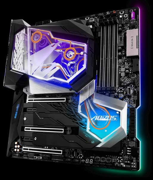 An x-ray shot of the motherboard showing where the lighting zones are