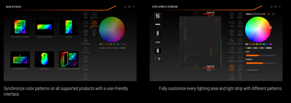 Graphical UI interface showing a color wheel that can be used to customize product lighting