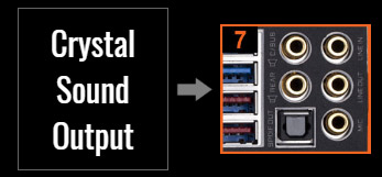 Crystal Sound Output showing audio jacks on motherboard