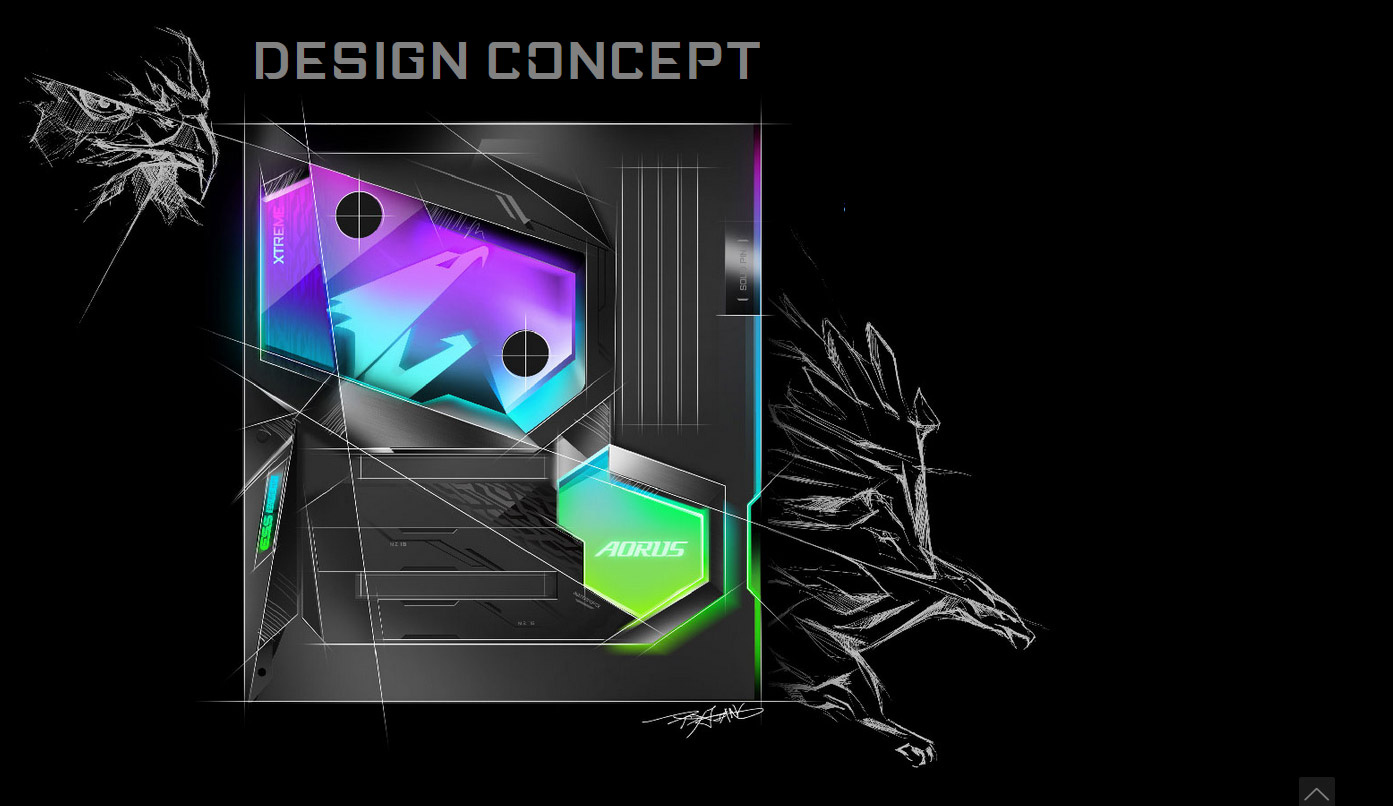 Design concept banner showing a drawing of the case with prifles of a hawk behind it