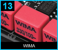 Closeup of WIMA capacitors on the motherboard