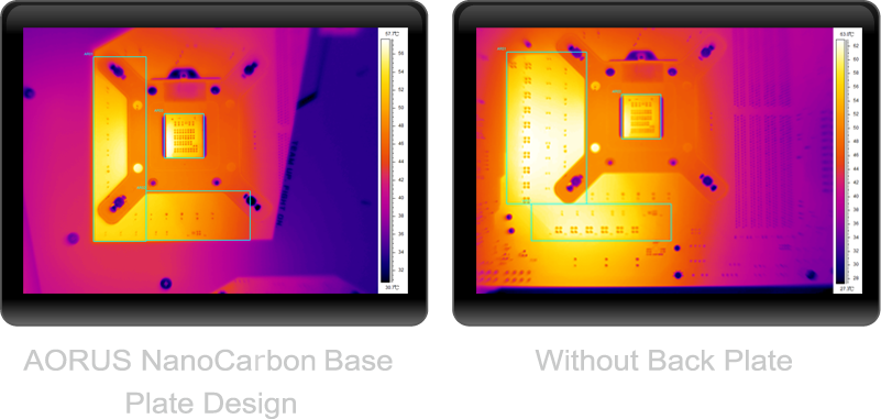 Thermal image showing how the nanocarbon base plate keep the board cooler than boards that don't have one