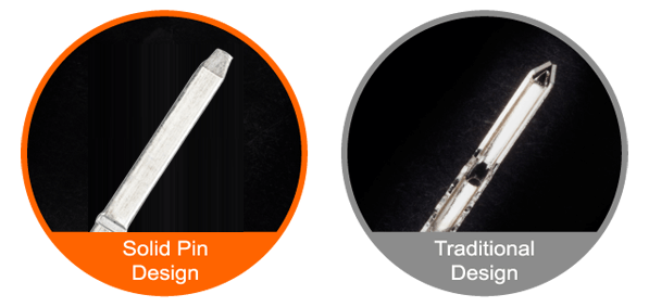 Image showing the solid pin design versus the traditional design