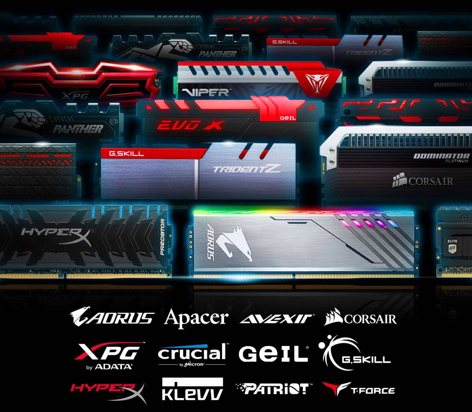 A variety of memory sticks from many brands as well as Logos for AORUS, Apacer, Avexir, Corsair, XPG by ADATA, Crucial, Geil, G.Skill, HyperX, KLEVV, Patriot and T-Force