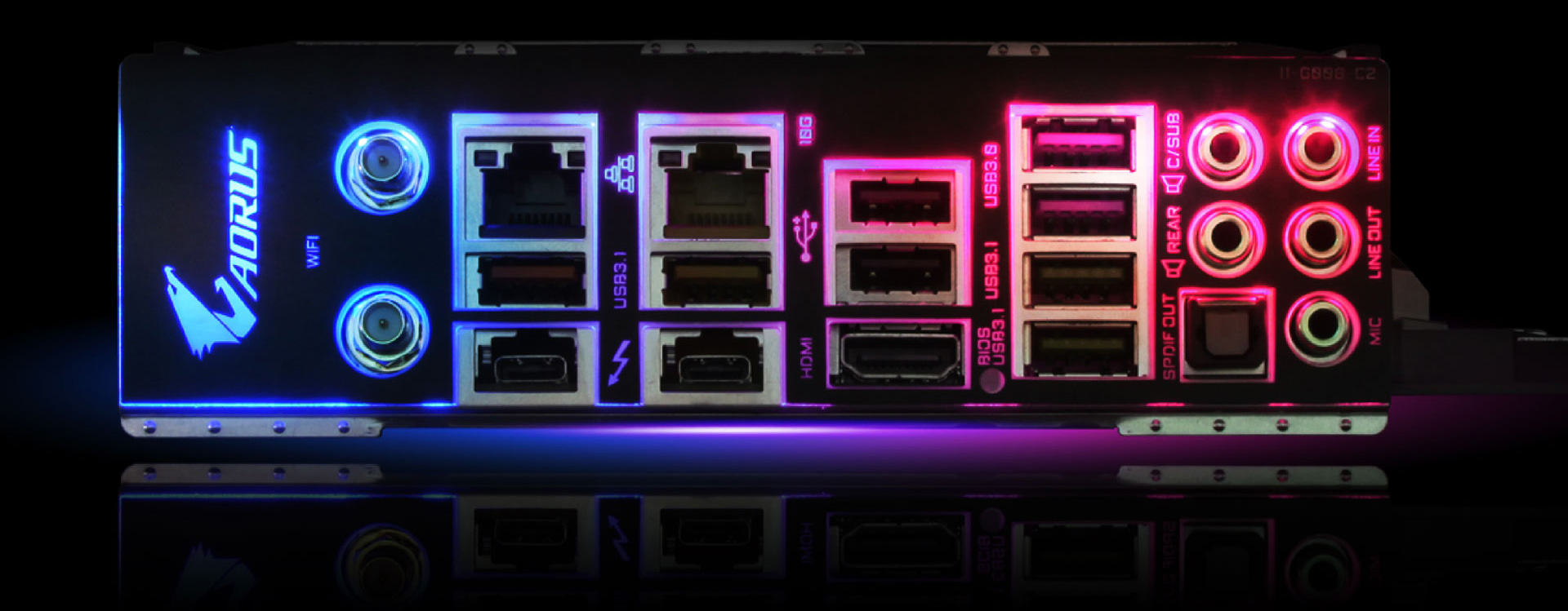 Closeup of the ports on the back of the motherboard, lit up in RGB