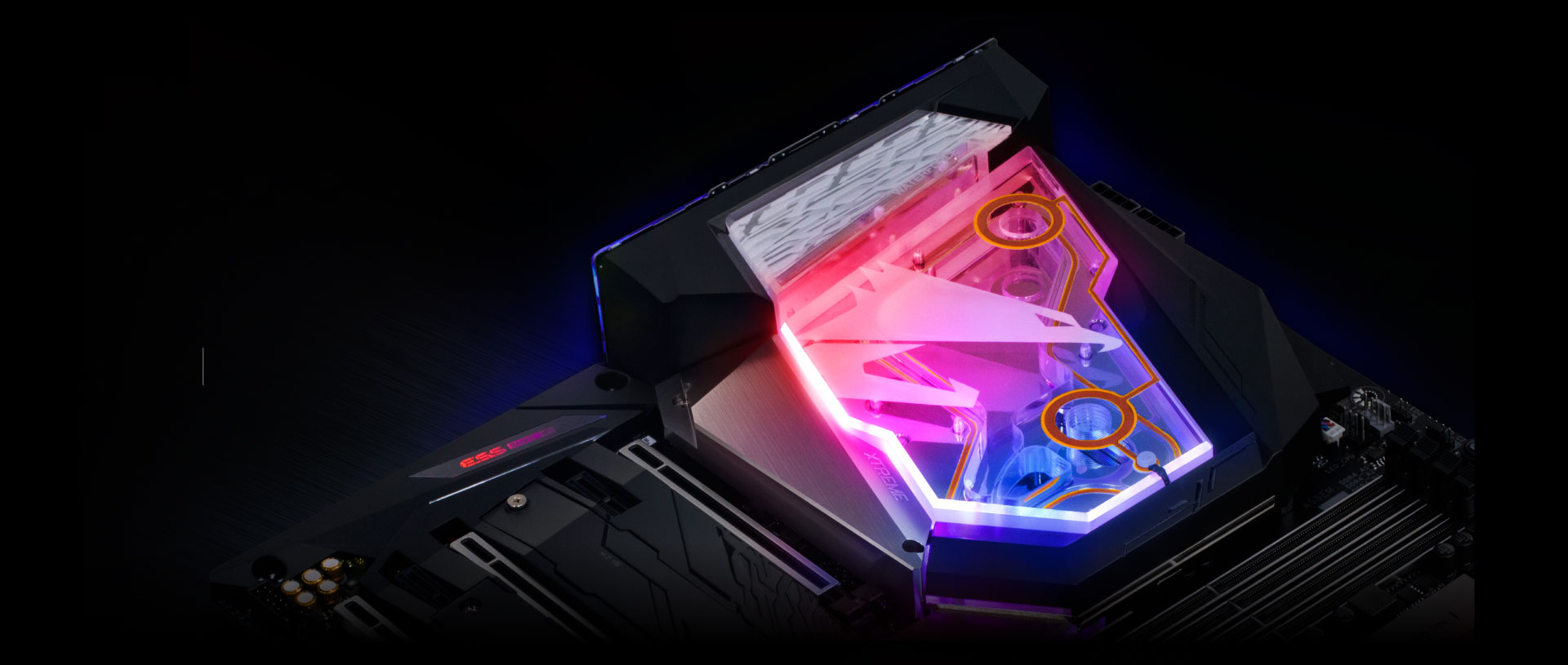 Closeup of the motherboard's RGB lighting-point cover