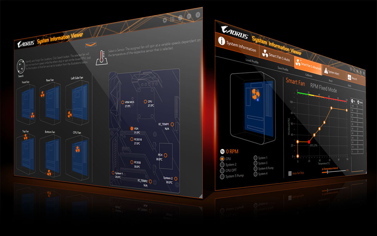 AORUS System Information View Graphical UI Tabs