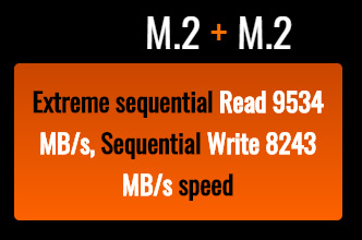 M.2 Extreme sequential Read 9534 MB/s, Sequential Write 8243 MB/s speed