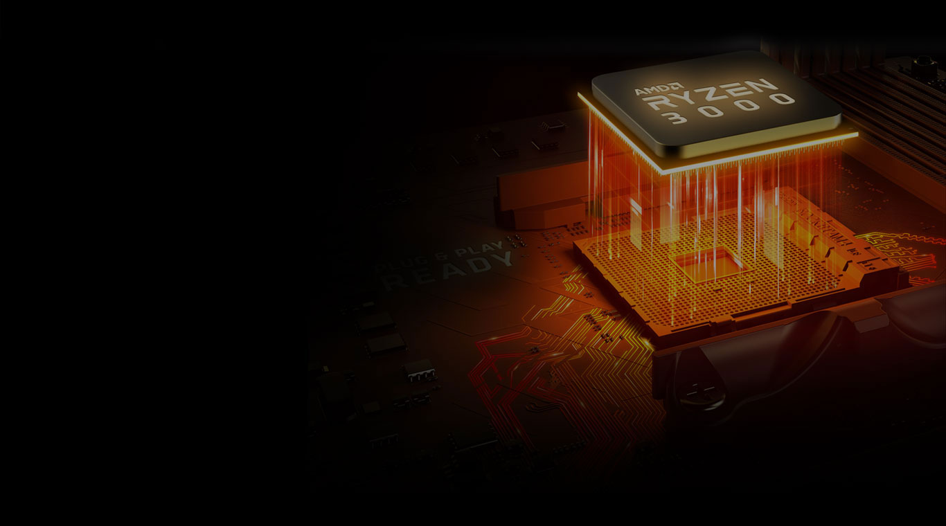 x570 ryzencpu, RYZEN 3000 cpu with an orange light as background