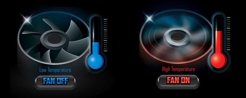 Illustration of fan off and fan on