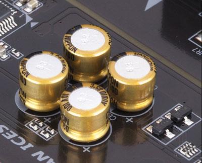 Closeup of audio capacitors