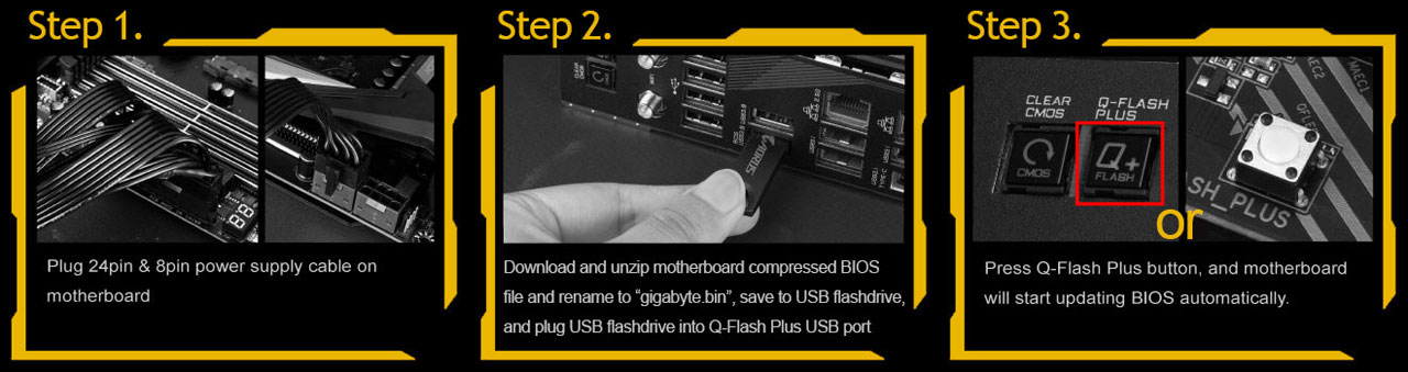 Three steps for updating BIOS with no processor installed