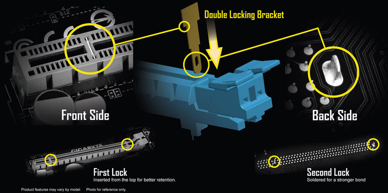 Closeup of the slot bracket, with illustration and texts describing its advantages