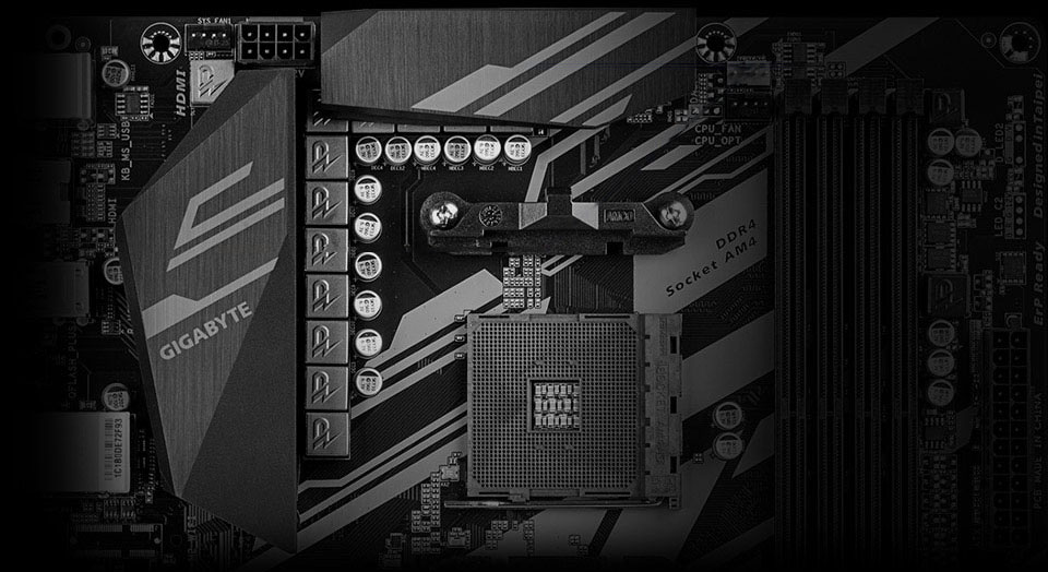 Closeuup of the heatsink on power delivery components near CPU socket