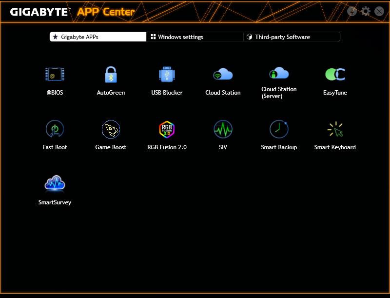 Screenshot of the App center