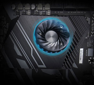 Closeup of the chipset cooling fan