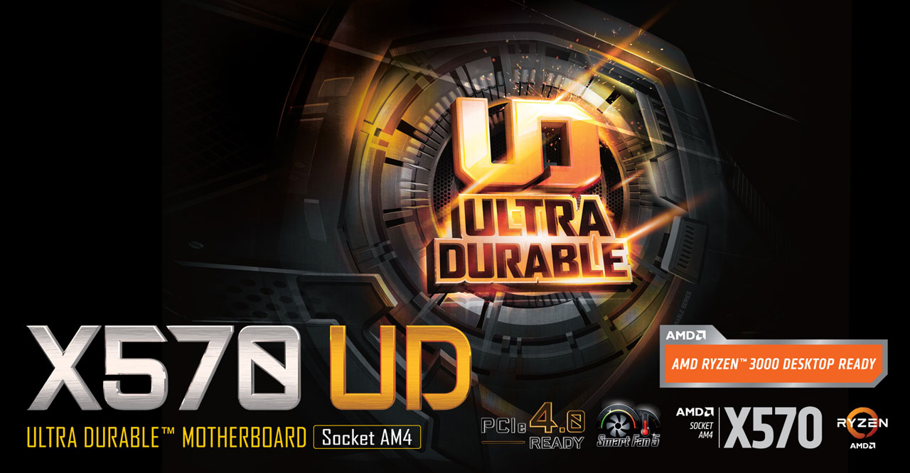 """Ultra Durable logo at the center. At bottom left are stylized texts reading as """"X570 UD"""" and """"Ultra Durable Motherboard Socket AM4"""". At bottom right are icons for features and chipset, and Ryzen logo"""