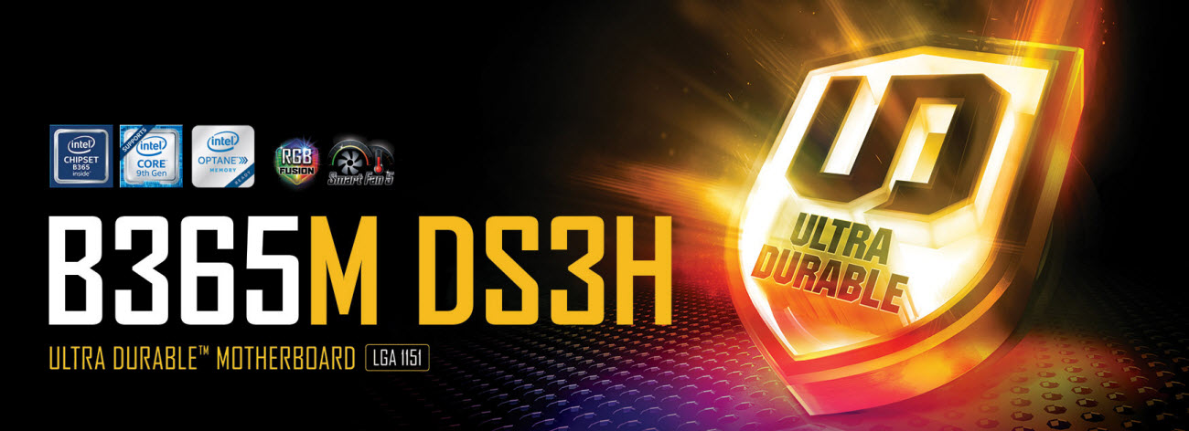 GIGABYTE B365M DS3H motherboard main banner with an Ultra Durable shield inside