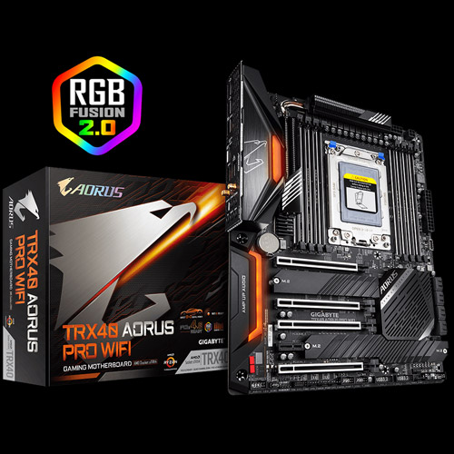 TRX40 AORUS PRO WIFI Motherboard Next to Its Product Box and the RGB FUSION 2.0 Badge