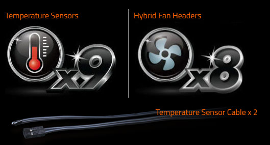 temperature sensors and hybrid fan headers icon