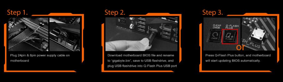 qflashstep2, three steps to show you how to use Q-flash plus.