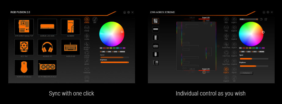 rgbsoftware, RGB FUSION 2.0 ICON, two screenshots of RGB fusion 2.0