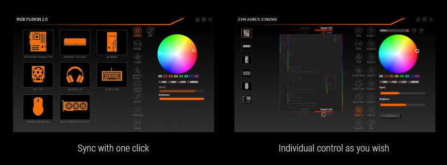 rgbsoftware, RGB FUSION 2.0 ICON, two screenshots of RGB fusion 2.0
