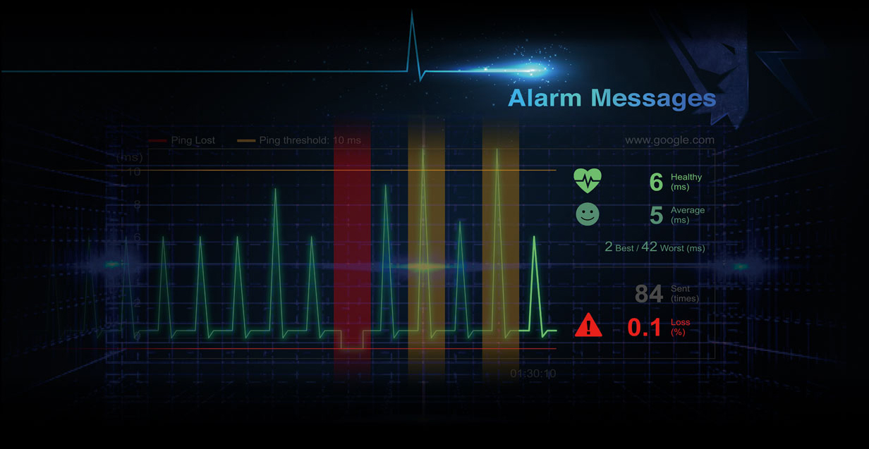 screenshot of alarm messages