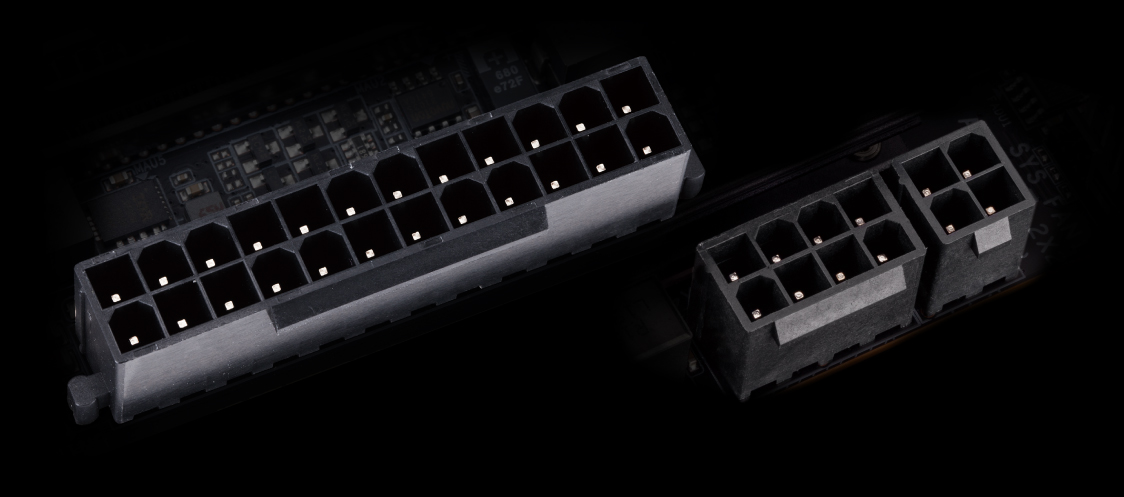 detail of the ports on the motherboard