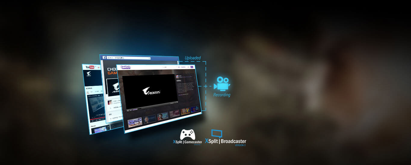 xsplit, three screenshots of XSplit gamecaster + broadcaster
