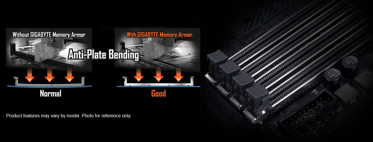 one image splited into two, showing different between with gigabyte memory armor and without