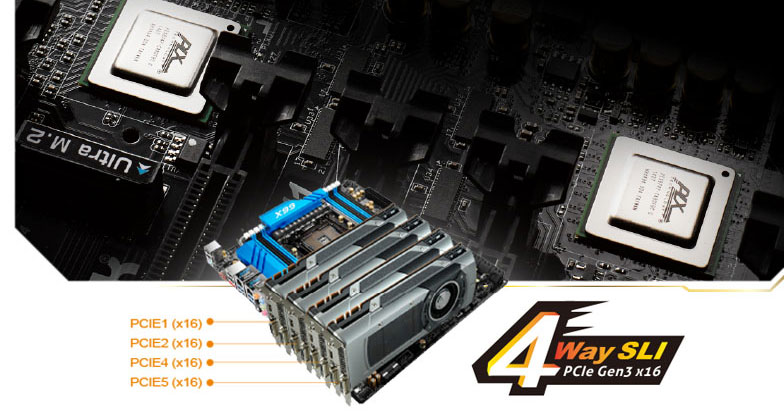 Closeup of the VGA slots on the motherboard in the background and an image of 4 graphics cards installed in the motherboard at the forefront