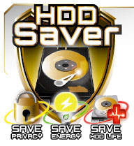 HDD Saver Icon with text that reads: SAVE PRIVACY, SAVE ENERGY and SAVE HDD LIFE