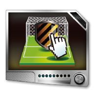 ASRock Online Management Guard Shield protecting a football monitor icon