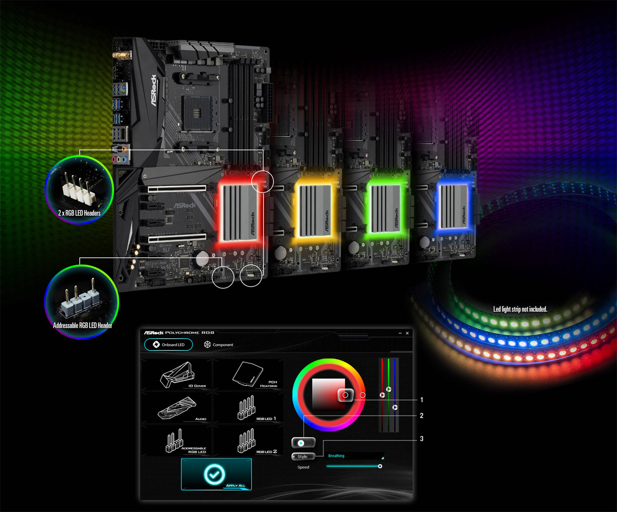 ASRock X470 Motherboard with Red, Yellow, Green and Blue Lighting Effects and Hot Spots Showing 2x RGB LED Headers, Adressable RGB LED Header and ASRock Polychrome RGB Customization Software Window