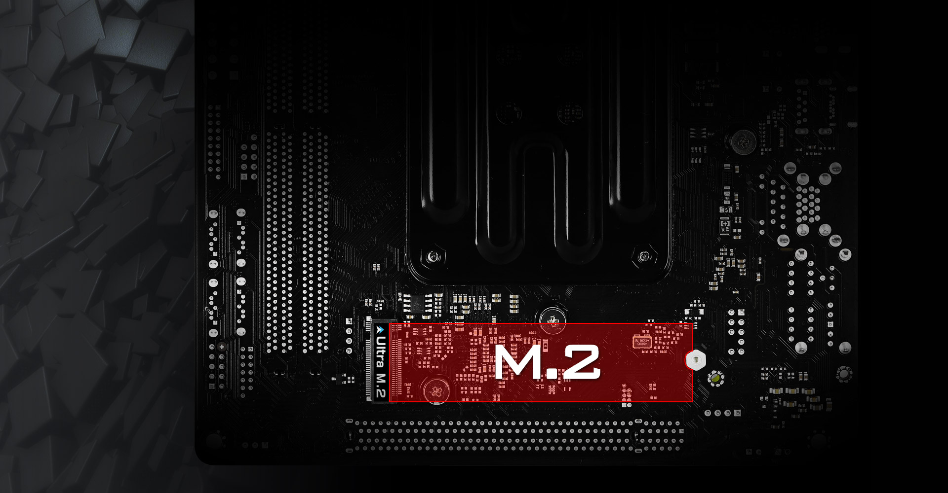 A red graphic showing an m.2 ssd can be installed on the B450 motherboard