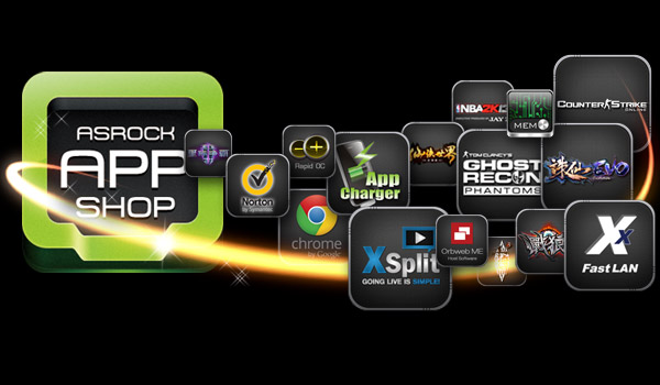 ASRock app shop logo along with app logos for games, features, software and browsers