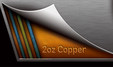 Graphic showing the 2oz copper layer below the motherboard's PCB