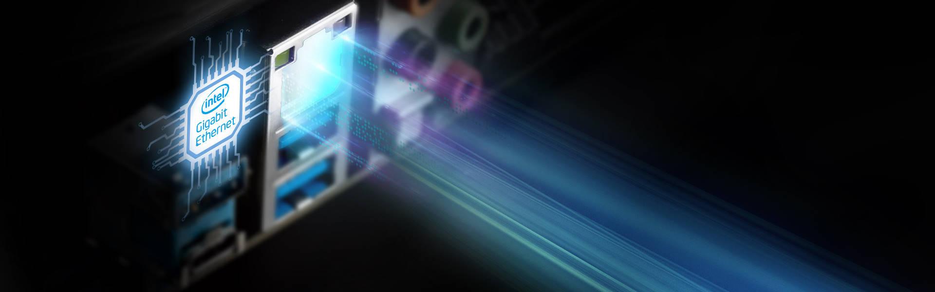 Intel Gigabit Ethernet port on the ASRock Z390 motherboard's ports