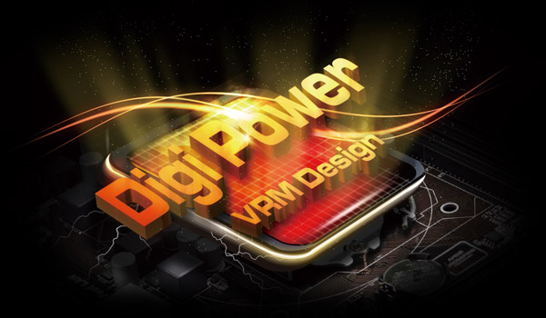 DigiPower VRM Design graphic on the motherboard
