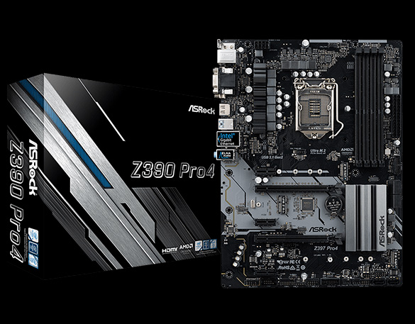 ASRock Z390 Pro4 Motherboard Standing Up, Facing Forward, Next to Its Product Box That's Angled to the Right