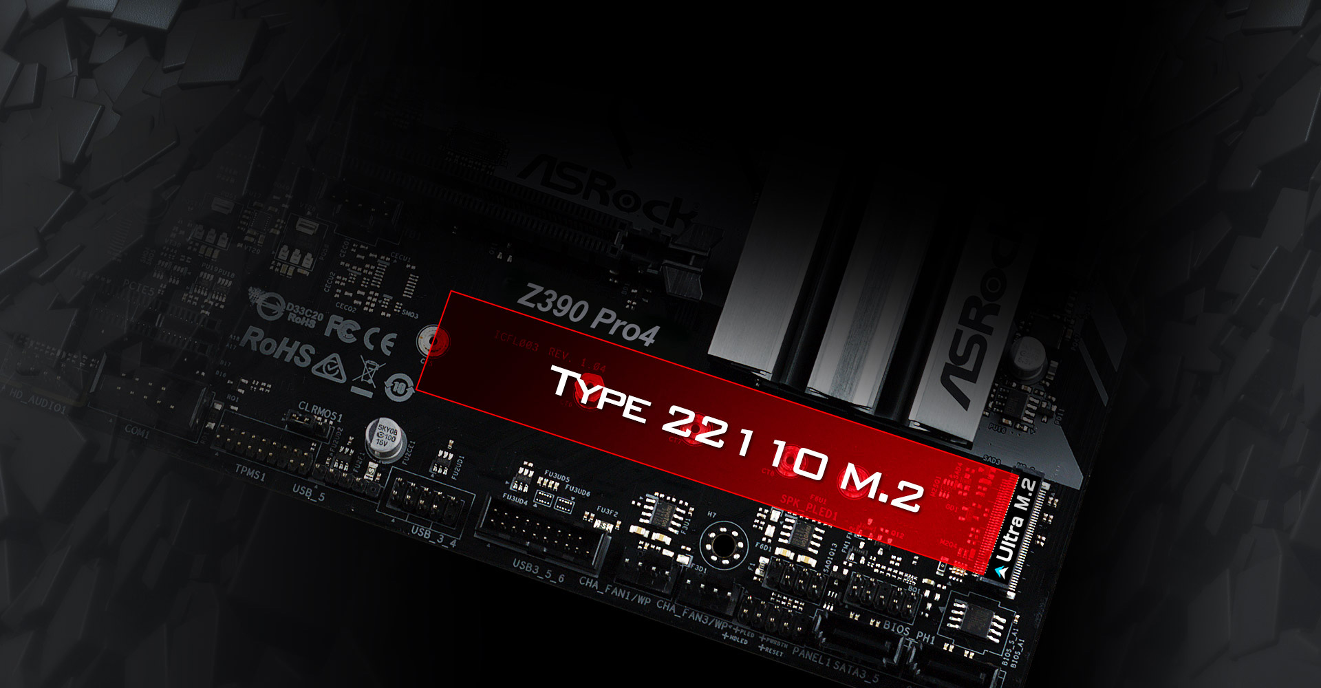 Red Highlight Graphic Showing the Type 22110 M.2 SSD Area on the ASRock Z390 Motherboard