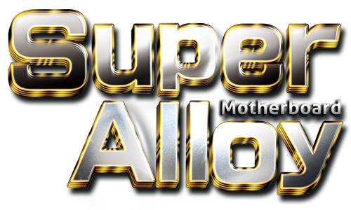 Graphic of a sheet metal background with stylized text in front that reads: Super Alloy Motherboard