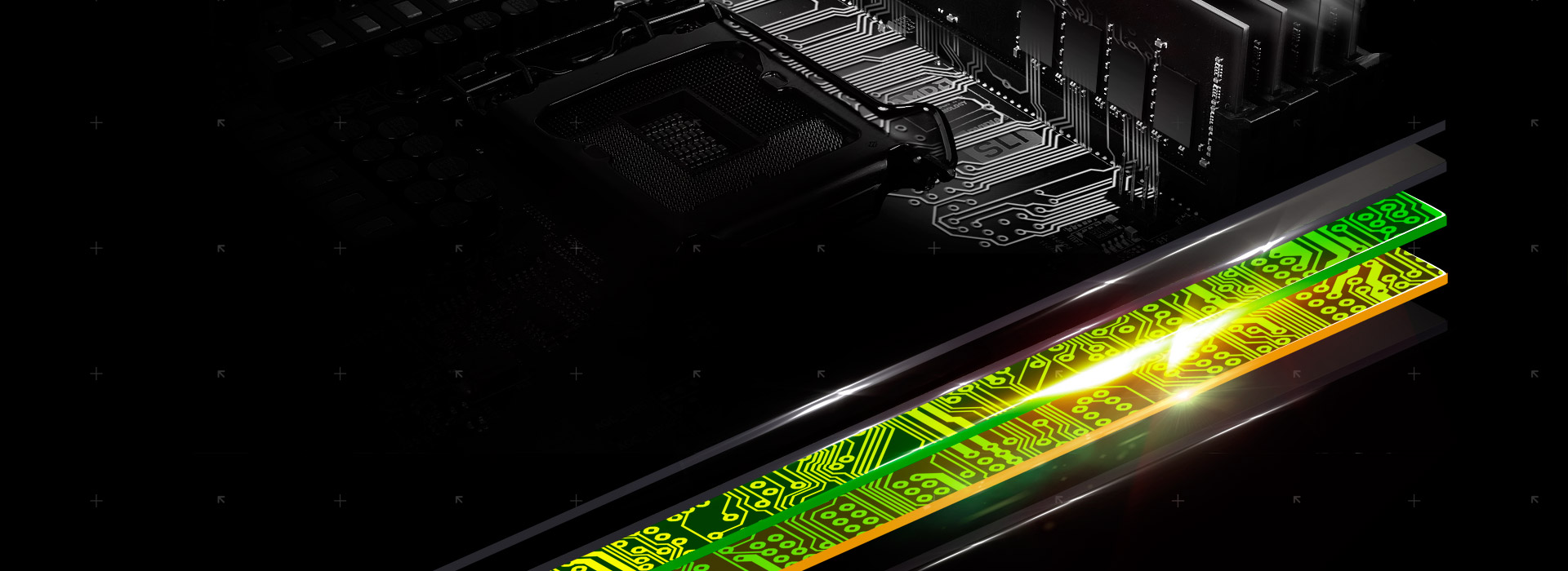 A close-up graphic showing the 4 layers that make the motherboard